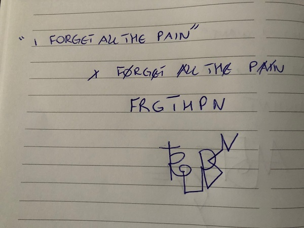 I forget all the pain sigil