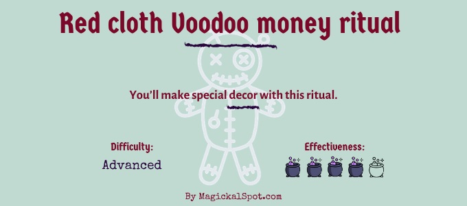 Red cloth Voodoo money ritual