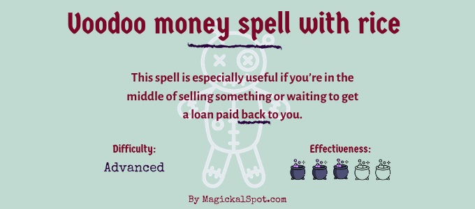 Voodoo money spell with rice