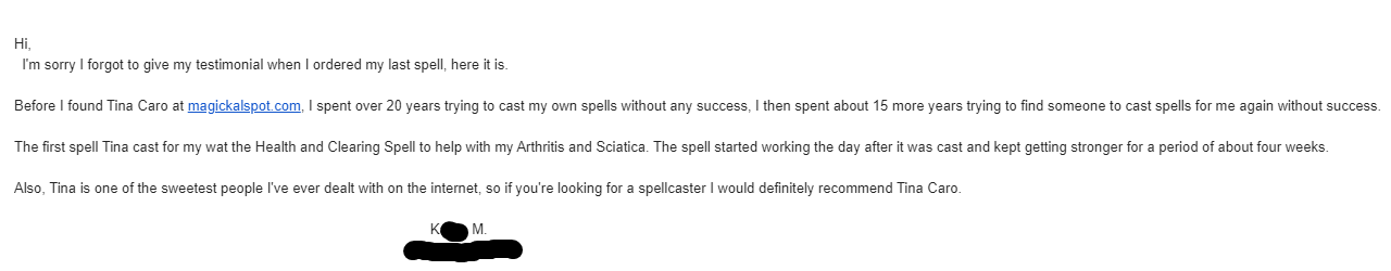 health and clearing spell testimonial