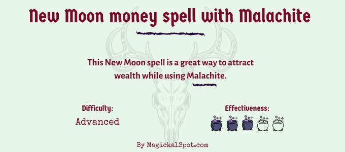 new moon Money spell with malachite