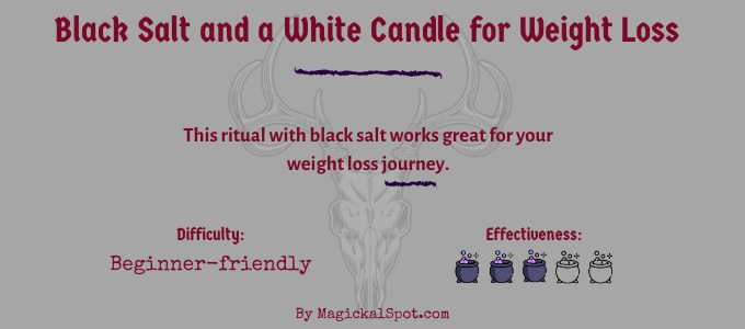 Black salt and a white candle for weight loss